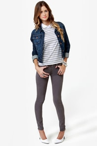 Level 99 Janice Ultra Skinny Stone Grey Jeggings