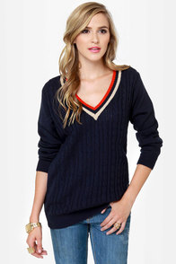 Fairway Tale Navy Blue Sweater at Lulus.com!