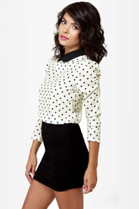 Kylie Cream Polka Dot Top at Lulus.com!