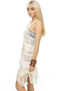 Upper Float White Crocheted Dress