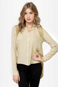 Moondust Beige Button-Up Top