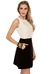 Hillary Black and Beige Lace Dress at Lulus.com!