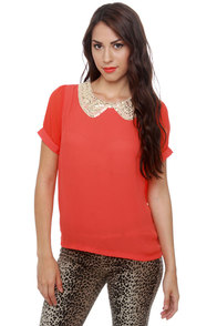 Wake-Up Collar Coral Red Top at Lulus.com!
