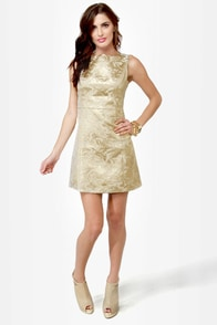 Ruling Dynasty Gold Brocade Dress at Lulus.com!