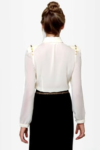 Masters in Spike-ology Sheer Studded Cream Top at Lulus.com!