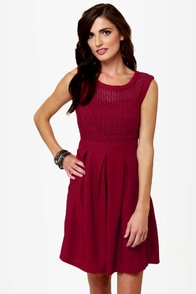 Fair Rosaline Burgundy Lace Dress at Lulus.com!