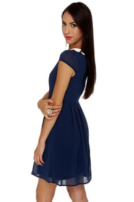 Sweet Shoppe Navy Blue Dress at Lulus.com!