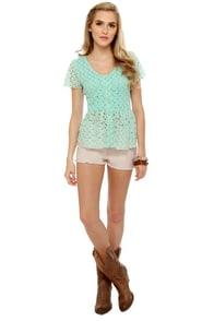 Pep Sister Mint Blue Lace Top at Lulus.com!