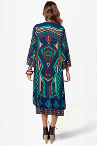 All Deco-d Out Blue Print Kimono Jacket at Lulus.com!