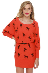 Unique-orn Orange Unicorn Print Sweater Dress