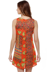 Artifact Quest Orange Print Dress at Lulus.com!