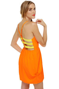 Wonders Never Cease Neon Orange Dress at Lulus.com!