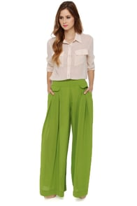 Great Lengths Lime Green Wide-Leg Pants at Lulus.com!