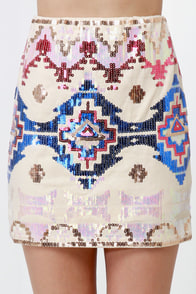 Las Vegas Lights Cream Sequin Skirt at Lulus.com!