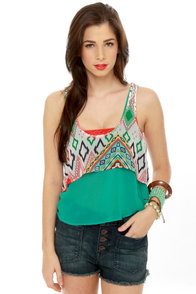 Tier-Drops Teal Print Tank Top