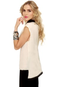 Shock Collar Black and Cream Top at Lulus.com!