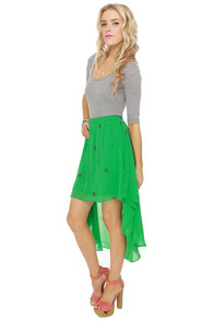 Star Power Green Print Skirt