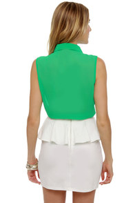 Frosted Tips Sheer Green Top at Lulus.com!