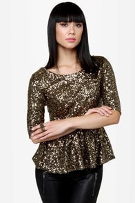 Party Topper Gold Sequin Top at Lulus.com!