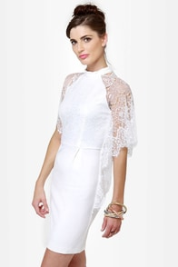 Lace for Days Ivory Lace Dress at Lulus.com!