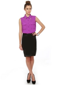 Bolo Tie Optional Sleeveless Purple Top at Lulus.com!