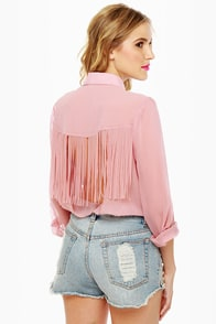 Fringe Countryside Blush Pink Button-Up Top