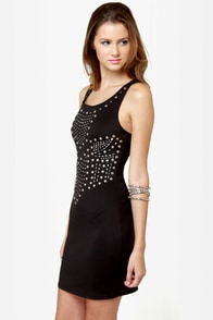Metal Show Studded Black Dress at Lulus.com!