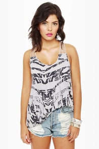 Hurley Arana Grey Print Tank Top at Lulus.com!