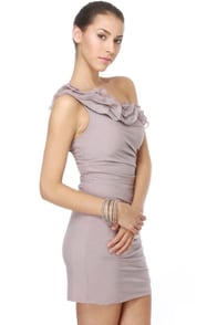 Lavender Souffl� One Shoulder Purple Dress