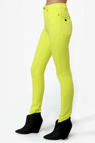 Insight High 'n' Mighty Neon Yellow High Rise Skinny Jeans at Lulus.com!