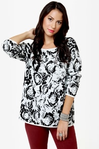 Insight Ritual Rose Black and White Sweater at Lulus.com!