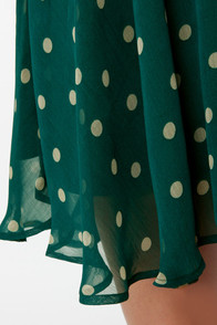 Lucca Couture Hotsy Dotsy Green One Shoulder Dress