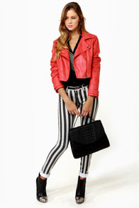 Lucca Couture Escape from Alcatraz Striped Skinny Jeans