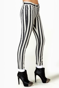 Lucca Couture Escape from Alcatraz Striped Skinny Jeans at Lulus.com!