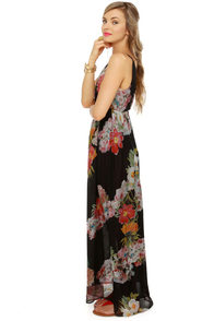 Weather Patterns Black Floral Print Silk Maxi Dress at Lulus.com!