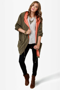 In a Cinch Olive Green Hooded Jacket at Lulus.com!