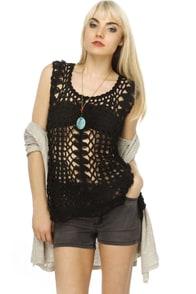 Snake Mountain Black Crochet Top