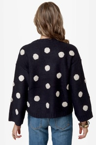 Dots Amore Navy Blue Polka Dot Sweater at Lulus.com!