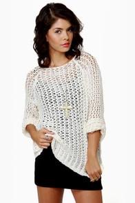 Mesh-merize Open-Knit Cream Sweater at Lulus.com!