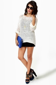 Mesh-merize Open-Knit Cream Sweater at Lulus.com!