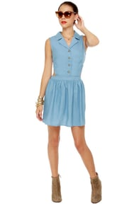 Work It Girl Blue Chambray Dress at Lulus.com!