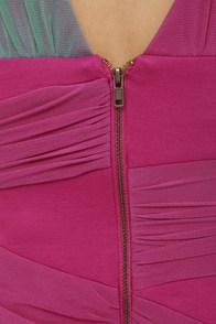 Extraordinary Mesh-ure Fuchsia Color Block Dress