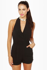 Very Veronica Black Halter Romper