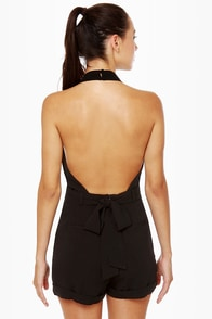 Very Veronica Black Halter Romper at Lulus.com!