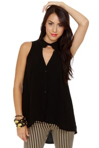 Tip-Top Sleeveless Black Top