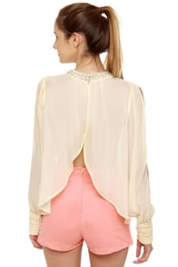 Post Meridian Beaded Cream Top at Lulus.com!