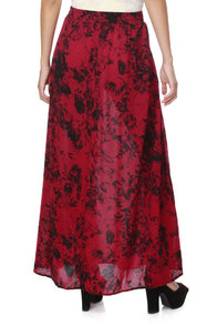 Mink Pink Bad Romance Red Floral Maxi Skirt