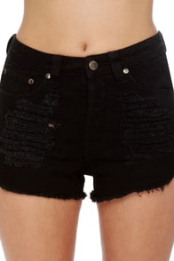 Mink Pink Slasher Flick Black Cutoff Jean Shorts at Lulus.com!