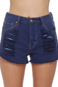 Mink Pink Slasher Flick Dark Blue Cutoff Jean Shorts at Lulus.com!
