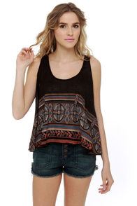 Somedays Lovin' Nostalgic Boarder Black Print Tank Top at Lulus.com!